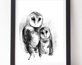 Owl Watercolor Owl Painting Owl Print Tasmanian Masked Owl Scandinavian Art Style Monochromatic Art Monochrome Nursery Black and White Art