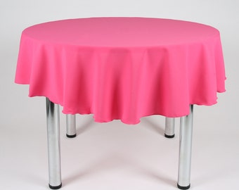 Great Hot Pink (Cerise) Round Tablecloth   Made From Polyester Fabric Not Cotton.