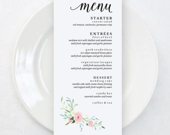 Floral Wedding Menu Template, Printable Wedding Menu, Garden Wedding Menu Cards, 4x9 Wedding Menu Printable Template, PDF Template