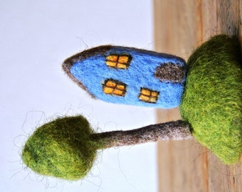 Felted house; miniature house