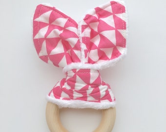 New Triangle Print Maple Wood Teething Ring
