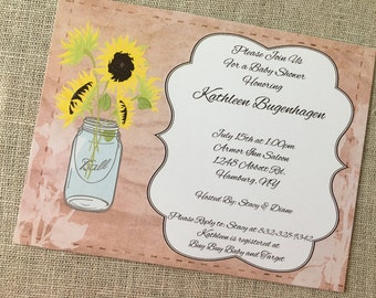 Rustic Sunflower Mason Jar Bridal or Baby Shower Invitation Digital Custom Print