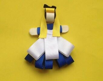 Alice In Wonderland Ribbon Sculpture, Alice in Wonderland Hair Clip, Alice in Wonderland Hair Bow,  Disney Hair Clip, Disney Hair Bow