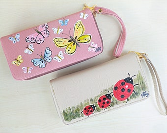 Butterflies and Ladybugs wallet, handpainted pouch, faux leather wallet, freehand paint ladybug and butterfly