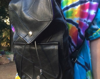 Leather patchwork backpack with pockets