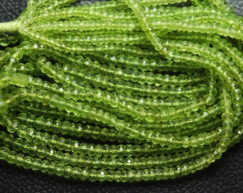 16 Inches Long Strand, Fineat Quality, Peridot Faceted Rondelles, Natural Stones 3.5-5.5mm