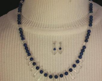 Lapis & Quartz Crystal Necklace Set # 130
