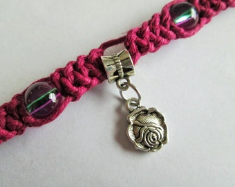 Handmade Dark Pink Hemp Choker Necklace with Silver Rose Pendant and Multicolor Glass Beads