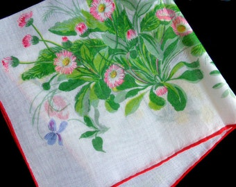 White vintage cotton handkerchief with wild flowers