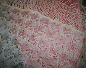 Breathtaking silk lace shawl was made by hand 1800s gossamer soft
