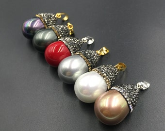 Faux Pearl Teardrop Pendant Paved Shell Pearls Rhinestone Pave Pearl Pendant Teardrop Pendant 1piece PV