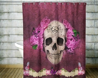 Sugar Skull Shower Curtain , Day Of The Dead , Antiquated Red Grunge Floral Butterfly