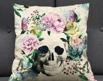 Sugar Skull Throw Pillow Butterfly Floral Vintage Inspired