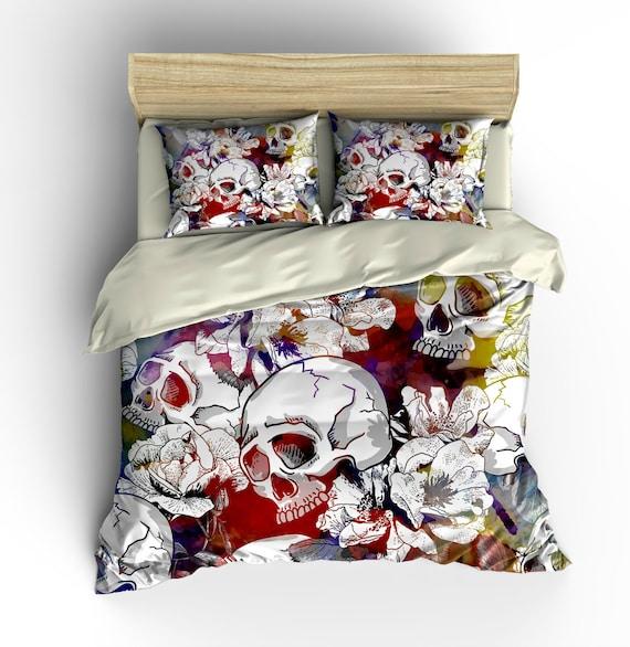 Housse de couette sugar skull set calavera floral abstrait for Housse de couette france