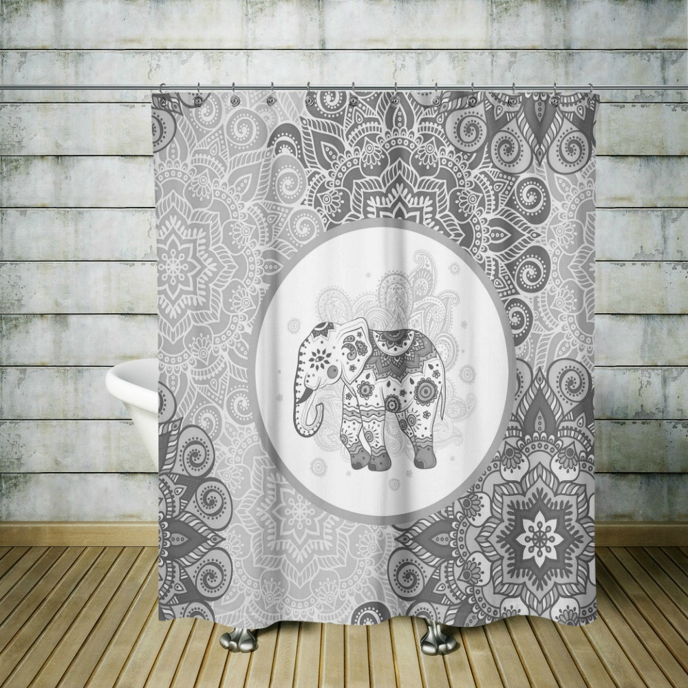 Boho Chic Shower Curtain Elephant Mandala Gray