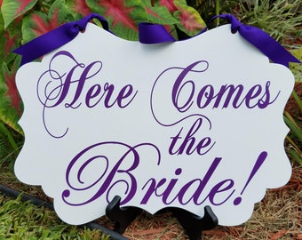 Wedding Signs, Here Comes the Bride-Purple- SINGLE SIDED, Ring bearer