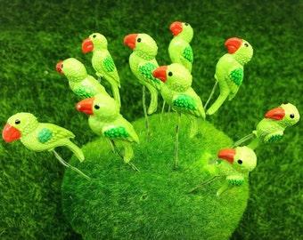 10 Terrarium Mini Green Color Parrot Stake Miniature Dollhouse Fairy Garden