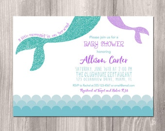 Mermaid baby shower invitation, Little mermaid baby shower, Under the sea baby shower invite, digital invitation, Printable Invitation