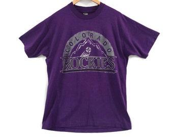 Colorado Rockies Vintage Tee - 1991 - Large - Screen Stars - Purple - MLB - Baseball Shirt - Denver Colorado - 90s Clothing - Distressed -