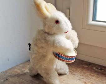 Vintage clock work toy Rabbit with drum / 1950's West Germany winding toy Rabit /antique Wind up toy /Mechanical music toy