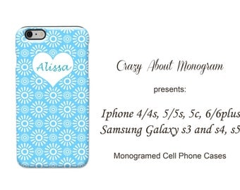 Personalized 3D iPhone or Samsung Galaxy Cell Light Blue and White Pinwheels White Heart Phone Case