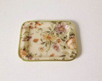 Vintage small tray by Arnold Designs, floral fibreglass tray or trinket dish