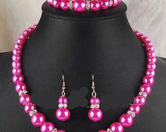 Hot Pink Pearl Necklace, Earrings & Bracelet Set