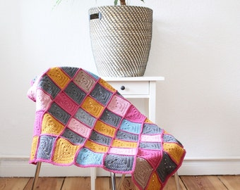 Baby blanket - pink, mustard, turquoise, grey