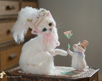 a cat Sharlotte and a mouse Pierr) made to order 7-8 weeks,.30 cm tall.sold/
