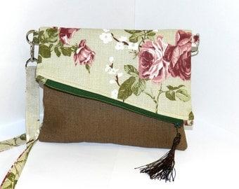 Linen Fold over bag, Fold-over clutch, linen clutch evening purse,burlap linen clutch,purse - brown/flowery,linen Pouch, Case, Purse, clutch