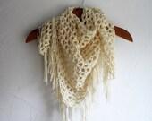 HANDMADE Crocheted Triangle Fringe Scarf. White and Gold Glitter Shawl. Wedding Shawl. Winter Scarf.