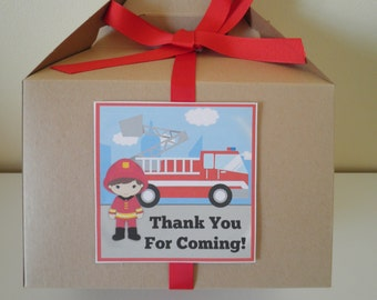 Set Of 6 Deluxe Gable Boxes Complete With Labels & Ribbons - Fireman - Firefighter Theme - Birthday Party Favor Holders