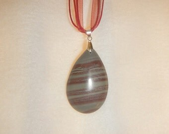PAY IT FORWARD - Gray & Red Striped Jasper pendant necklace (JO347)