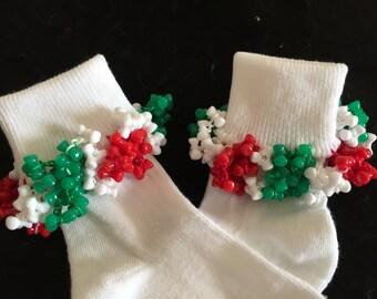 Christmas Red Green White Beaded Girls Socks