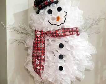 NEW! Premium & Full Snowman Deco Mesh Door Decor - Wreath