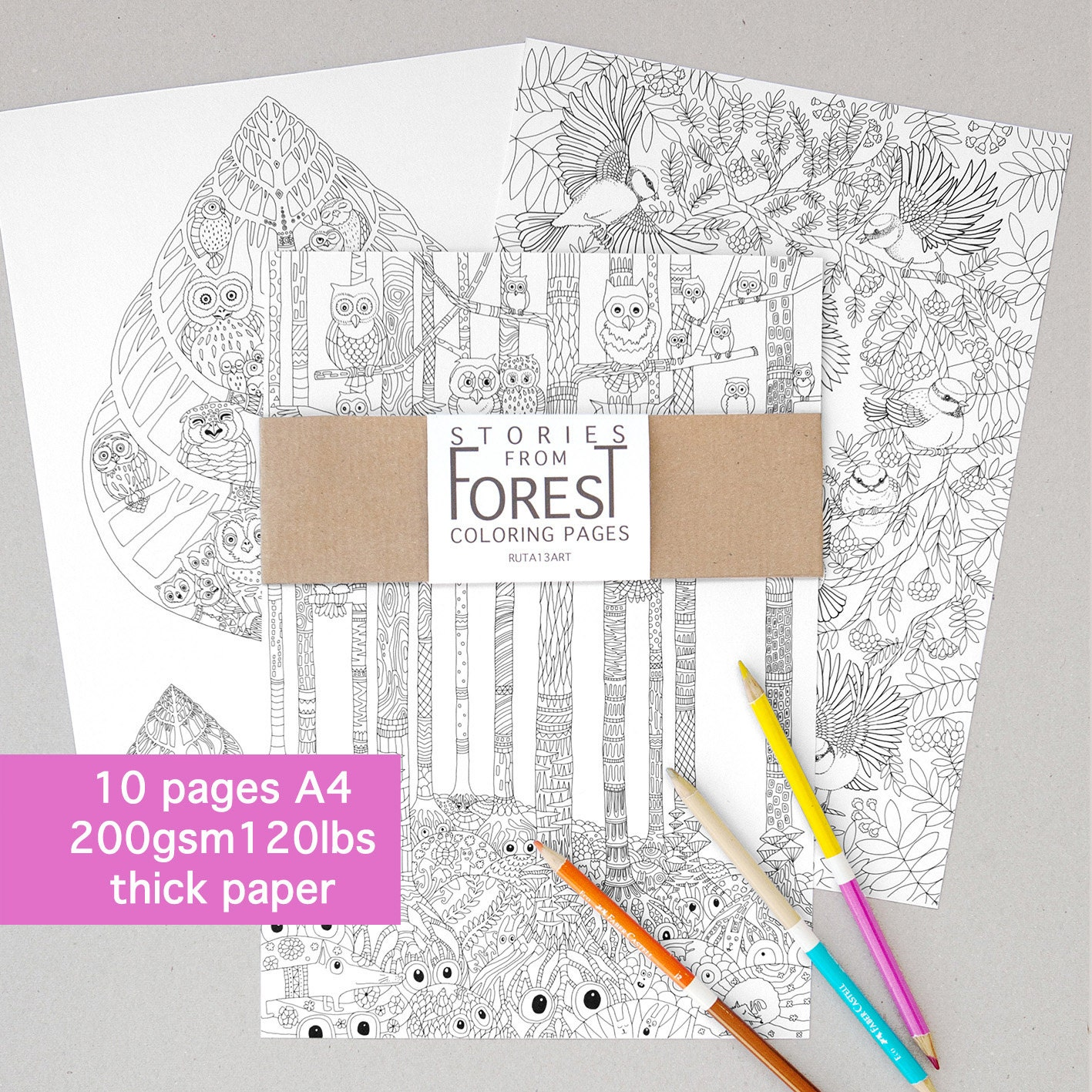 10 Coloring Book Pages Stories From Forest Thick