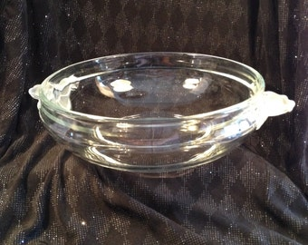 Crystal Clear Glass Fruit bowl with Frosted Flower Self Handles, Pretty for Fruit Salad.