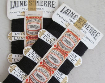 Superb duo of vintage French threads on gorgeous cards~UNUSED~Lain St Pierre~Lyon M.M. Paris~Delicious haberdashery display