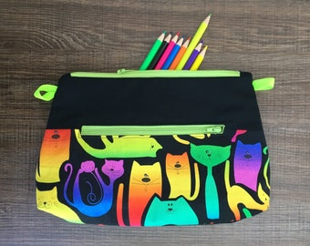 Cat pencil case, colorful pocket for pencils, Black cosmetic bag, Original storage pouch, **customizable**