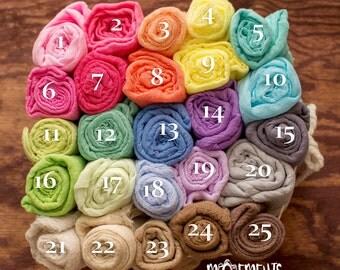 Bundle of 25 Newborn Stretch Wrap, Newborn Stretch Knit Wrap, Newborn Baby Photography Props, Newborn Wrap -25 colors to choose from