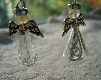 Silver Angel DIY Sets. Christmas Angels for Earrings. Make Your Own Angels ~Wings, Gowns, Rhinestone Halo's Etc. USPS Ship Rates from Oregon
