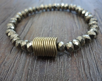 Pyrite Gemstone Stacking Bracelet/Brass Discs/