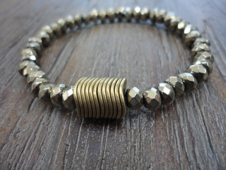 Pyrite Gemstone Stacking Bracelet/Brass Discs/