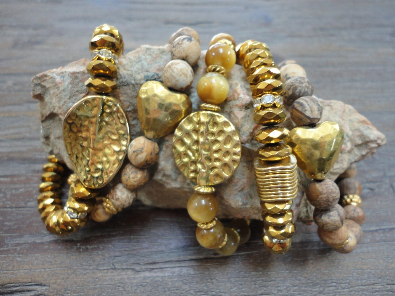 Gemstone Stacking Bracelets/Set of 5/Hematite/Tiger Eye/ Jasper/Hammered Gold/Gold Discs/Boho Stack/Gold/Yellow/Copper/Beige
