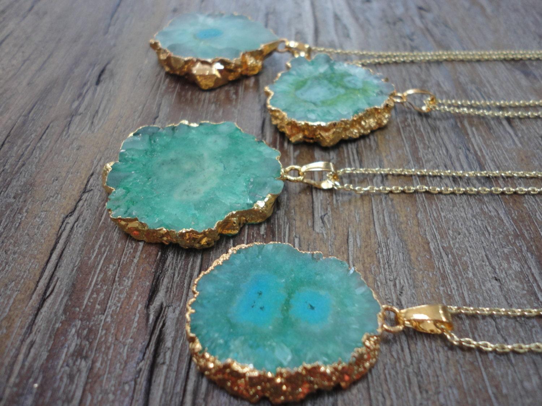 Aquamarine Solar Quartz Pendant Gold Necklace/ Druzy/Agate Quartz Slice/Seagreen/Seafoam