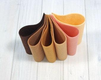Felt Bundle - Skin Tones - Wool Blend Felt Sheets, 9 x 12 inches