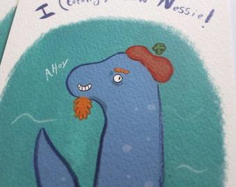 Pack of 4 Loch Ness Monster postcards- I Totally Saw Nessie!- Lochness- Scotland- Scottish- Britain- British- United Kingdom- lake monster