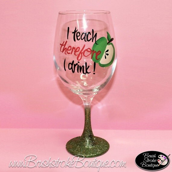 Painted Wine Glasses For Teachers