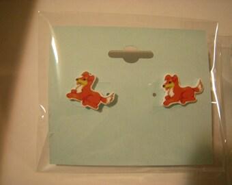 Shepherd Puppy Pierced Earrings, Dog Canine Pet Lover, Handmade Plastic Jewelry, 1 pr.