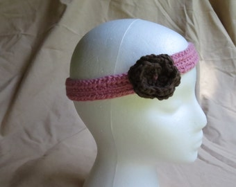 Crocheted Girls Pink Headband with Brown Flower